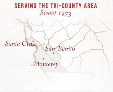 Monterey, Santa Cruz, San Benito