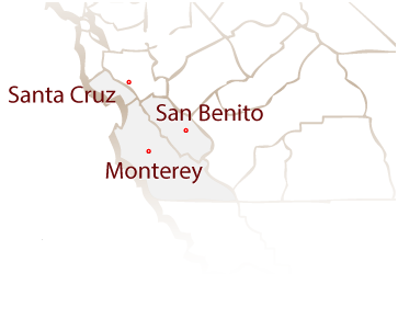 Map of Monterey, Santa Cruz and San Benito service areas.