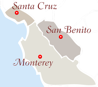 Colorful map with the text Santa Cruz, Monterey and San Benito.